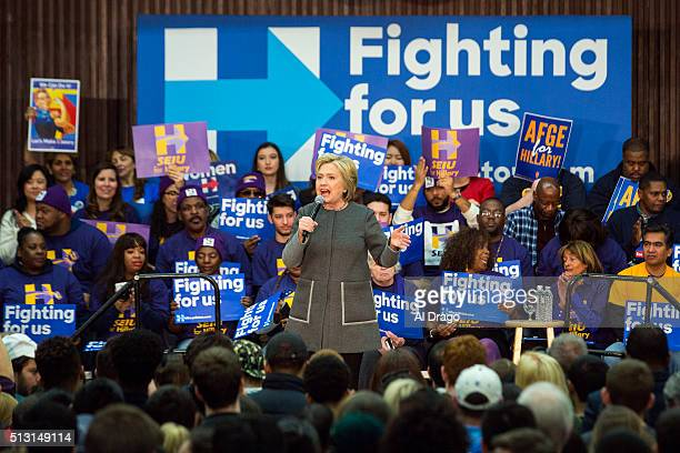 STATES FEB 29 Democratic presidential candidate Hillary Clinton speaks at an event at George Mason University in Fairfax Va Monday February 2016 the...