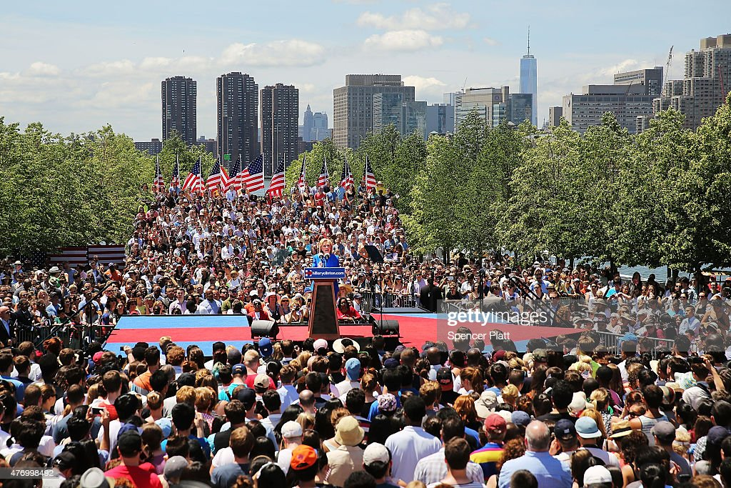 Hillary Clinton Holds Campaign Kick-Off Rally In NYC : News Photo