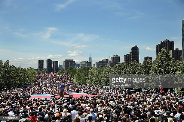 Democratic Presidential candidate Hillary Clinton speaks at her official kickoff rally at the Four Freedoms Park on Roosevelt Island in Manhattan on...