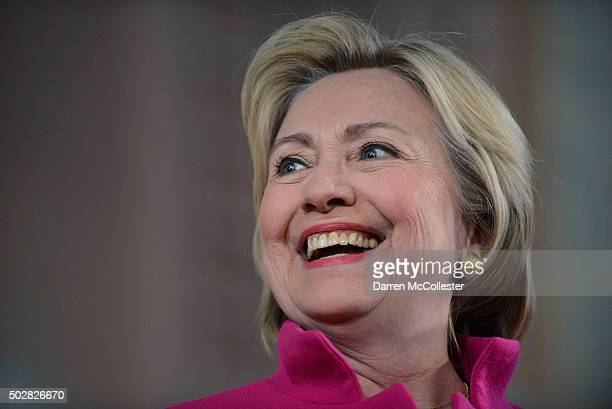 Democratic Presidential candidate Hillary Clinton speaks at South Church December 29 2015 in Portsmouth New Hampshire Clinton continues to poll...