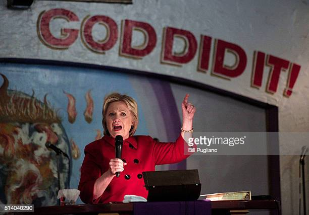 Democratic Presidential Candidate Hillary Clinton speaks at the Holy Ghost Cathedral March 6 2016 in Detroit Michigan Clinton is campaigning in...