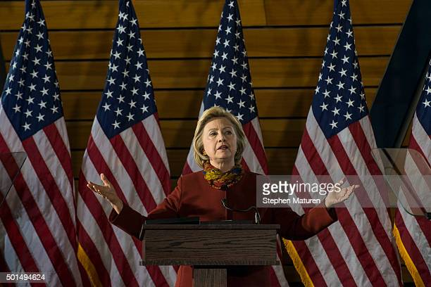 Democratic presidential candidate Hillary Clinton speaks at the University of Minnesota on December 15 2015 in Minneapolis MN During the speech...