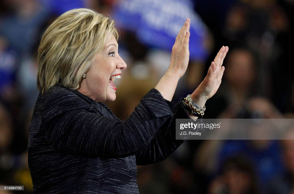 Democratic Presidential Candidate Hillary Clinton speaks at the Recreation Center on the campus of the Cuyahoga Community College, March 8, 2016, in Cleveland, Ohio. Clinton is campaigning in Ohio ahead of the primary on March 15.