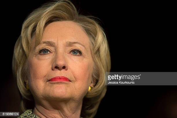 Democratic presidential candidate Hillary Clinton speaks at the Pennsylvania AFLCIO's Convention on April 6 2016 in Philadelphia Pennsylvania The...