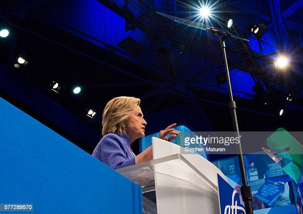 Democratic Presidential candidate Hillary Clinton speaks at the Minneapolis Convention Center on July 18 2016 in Minneapolis Minnesota Clinton...