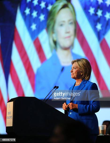 Democratic Presidential candidate Hillary Clinton speaks at the Democratic National Committee summer meeting on August 28 2015 in Minneapolis...