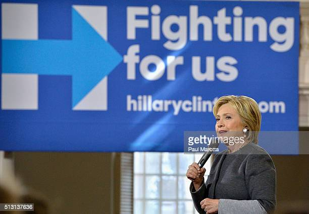 Democratic Presidential candidate Hillary Clinton speaks during a 'Get Out The Vote' rally at Old South Meeting House on February 29 2016 in Boston...
