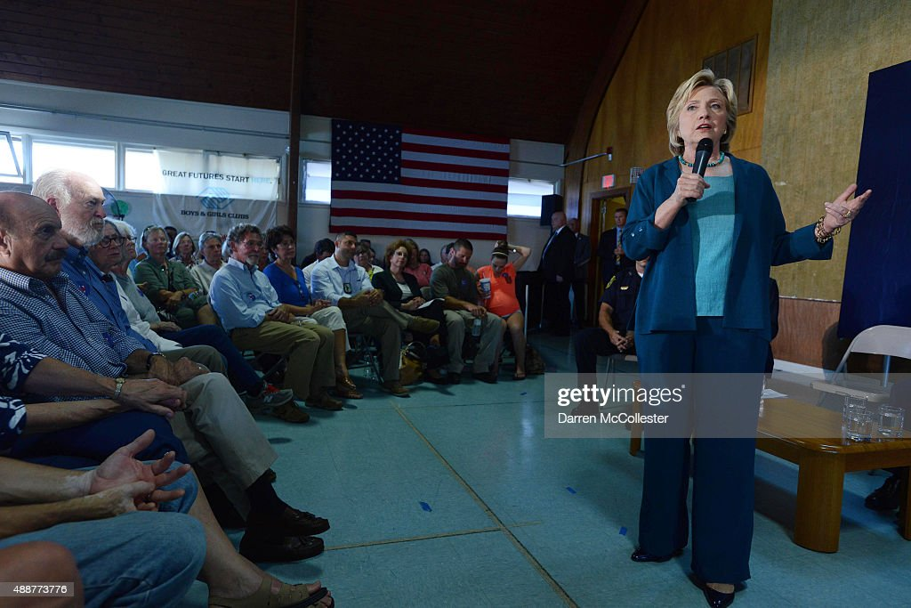 Democratic Presidential candidate Hillary Clinton speaks during a community forum on substance abuse September 17, 2015 in Laconia, New Hampshire. Clinton spent the day campaigning and spoke at on substance abuse.