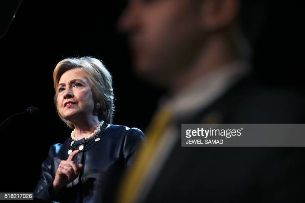 Democratic presidential candidate Hillary Clinton speaks during a campaign rally at the Apollo Theatre in New York on March 30, 2016. / AFP PHOTO /...