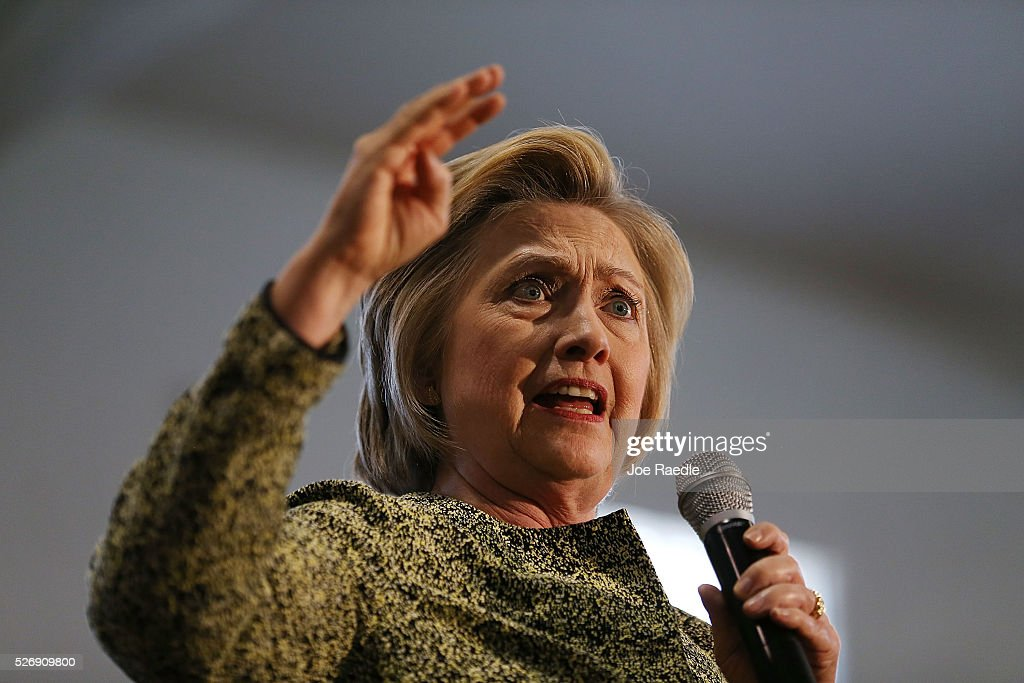 Democratic presidential candidate Hillary Clinton speaks during a campaign stop at the Douglass Park Gynasium on May 1, 2016 in Indianapolis, Indiana. Presidential candidates continue to campaign across the state leading up to Indiana's primary day on May 3.