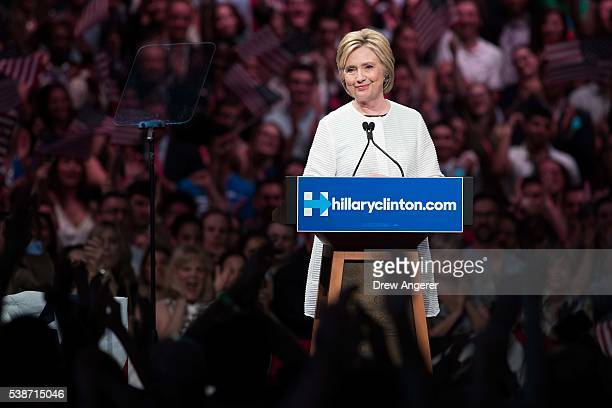Democratic presidential candidate Hillary Clinton speaks during a primary night rally at the Duggal Greenhouse in the Brooklyn Navy Yard, June 7,...