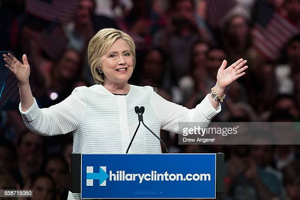 Democratic presidential candidate Hillary Clinton speaks during a primary night rally at the Duggal Greenhouse in the Brooklyn Navy Yard June 7 2016...