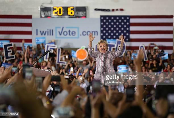 Democratic presidential candidate Hillary Clinton speaks during a campaign rally at the Sunrise Theatre on September 30 2016 in Coral Springs Florida...