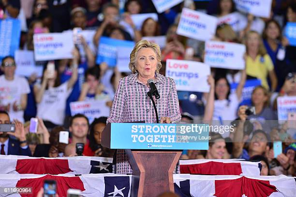 Democratic presidential candidate Hillary Clinton speaks during a campaign rally at Coral Springs Gymnasium on September 30 2016 in Coral Springs...