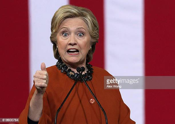 Democratic presidential candidate Hillary Clinton speaks during a campaign event at the Lawrence Joel Veterans Memorial Coliseum October 27 2016 in...