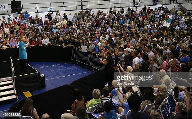 Democratic presidential candidate Hillary Clinton speaks during her campaign stop at the Broward College Ð Hugh Adams Central Campus on October 2...
