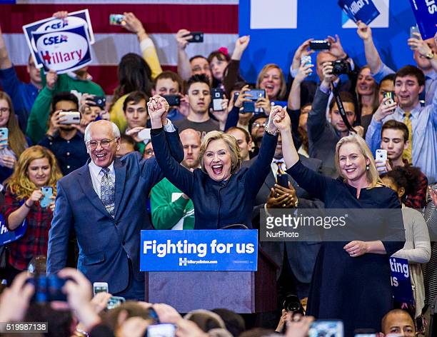 Democratic presidential candidate Hillary Clinton speaks during her campaign trail at the Cohoes High School, April 4, 2016 Cohoes, New York, USA.