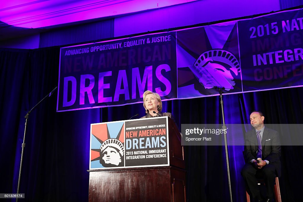 Democratic presidential candidate Hillary Clinton speaks during the National Immigrant Integration Conference on December 14, 2015 in New York City. During the speech Clinton announced her immigration proposals if elected president. According to a new poll, in a hypothetical general election matchup Democratic front-runner Clinton would beat businessman and Republican presidential candidate Donald Trump. The poll also places the former Secretary of State in a tight race with Republican candidates Sen. Marco Rubio (R-FL) and former neurosurgeon Ben Carson.