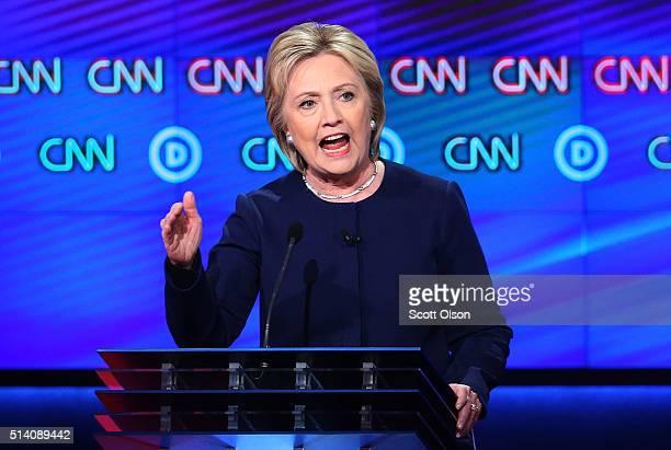 Democratic presidential candidate Hillary Clinton speaks during the CNN Democratic Presidential Primary Debate with candidate Senator Bernie Sanders...