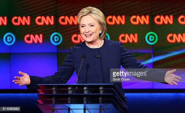 Democratic presidential candidate Hillary Clinton speaks during the CNN Democratic Presidential Primary Debate with candidate Senator Bernie Sanders...
