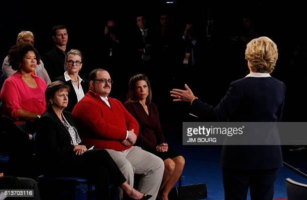 US Democratic presidential candidate Hillary Clinton speaks during the second presidential debate at Washington University in St Louis Missouri on...