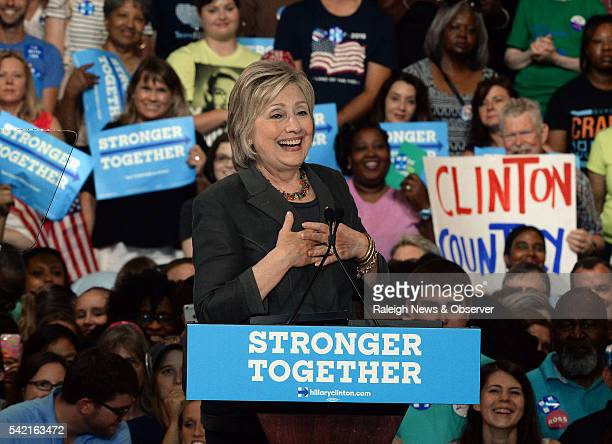Democratic presidential candidate Hillary Clinton speaks to a capacity crowd at the Exposition Center of the North Carolina State Fairgrounds in...