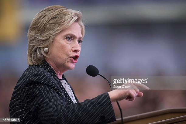 Democratic presidential candidate Hillary Clinton speaks to guests gathered for a campaign event at the University of WisconsinMilwaukee on September...