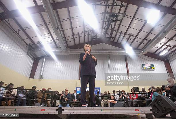 Democratic presidential candidate Hillary Clinton speaks to guests gathered for a town hall meeting at the Williamsburg County Recreation Center on...