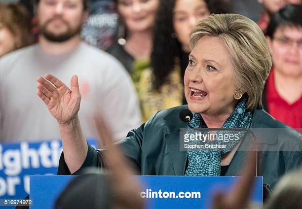 Democratic presidential candidate Hillary Clinton speaks to members of the International Association of Machinists and Aerospace Workers during a...