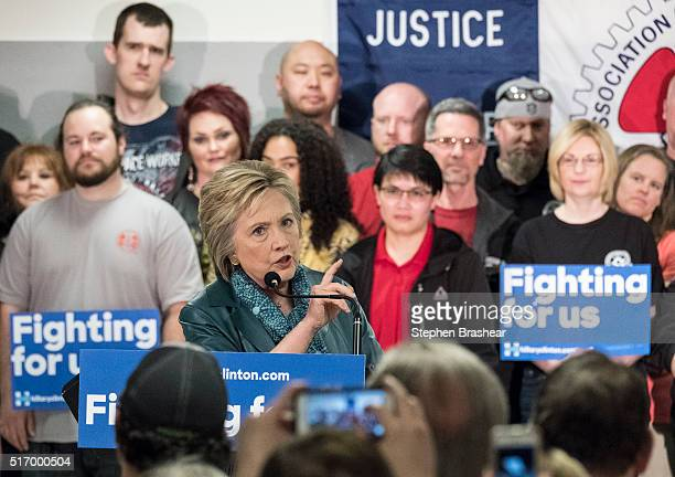 Democratic presidential candidate Hillary Clinton speaks to International Association of Machinists and Aerospace Workers supporters during a labor...