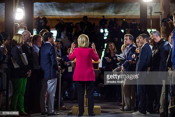 Democratic presidential candidate Hillary Clinton speaks to the media during a press availability in Concord, New Hampshire.