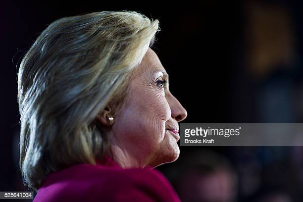 Democratic presidential candidate Hillary Clinton speaks to the media during a press availability in Concord New Hampshire
