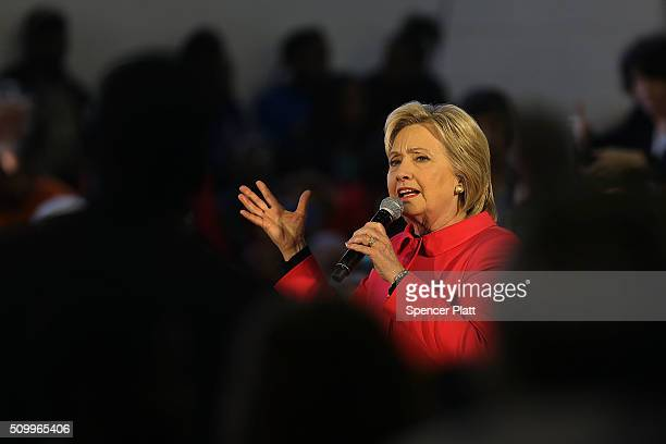 Democratic presidential candidate Hillary Clinton speaks to voters in South Carolina a day after her debate with rival candidate Bernie Sanders on...