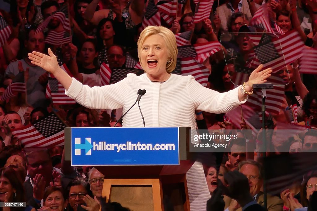 Clinton claims nomination as primaries near end : News Photo