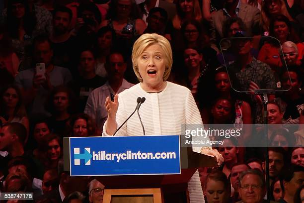 Democratic Presidential Candidate Hillary Clinton thanks her supporters at a rally at Duggan Greenhouse Building in Brooklyn, New York on June 7,...