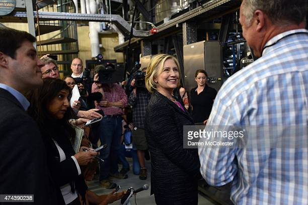 Democratic presidential candidate Hillary Clinton tours the Smuttynose Brewery May 22 2015 in Hampton New Hampshire Clinton has made two trips to New...