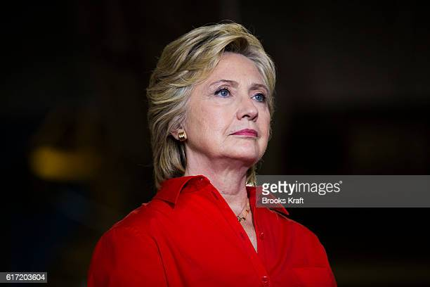 Democratic Presidential candidate Hillary Clinton visits Johnstown Wire Technologies July 30 2016 in Johnstown PA