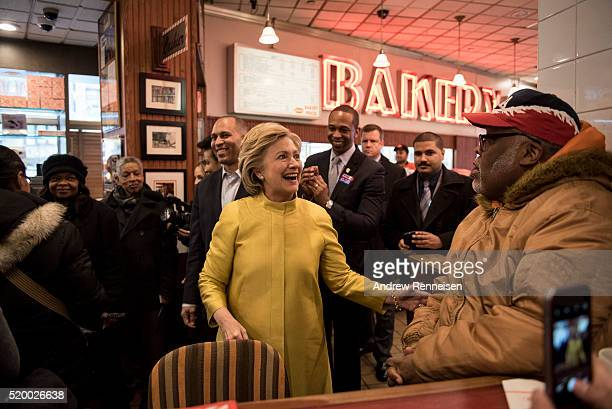 Democratic presidential candidate Hillary Clinton visits Junior's restaurant while campaigning in the Brooklyn borough April 9 2016 in New York City...