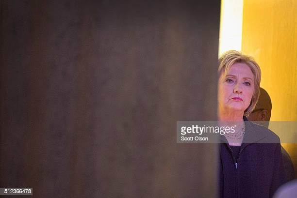 Democratic presidential candidate Hillary Clinton waits to be introduced at a town hall meeting at Royal Mission Baptist Church on February 25, 2016...