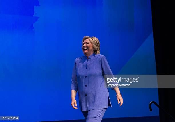 Democratic Presidential candidate Hillary Clinton walks out on stage at the Minneapolis Convention Center on July 18 2016 in Minneapolis Minnesota...