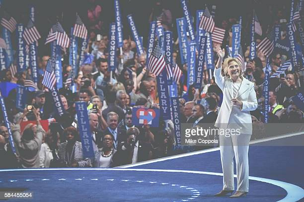 Democratic presidential candidate Hillary Clinton waves to the audience at the 2016 Democratic National Convention at Wells Fargo Center on July 25...