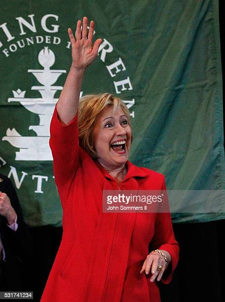 Democratic presidential candidate Hillary Clinton waves to the crowd as she arrives to a campaign rally at La Gala May 16 in Bowling Green Kentucky...