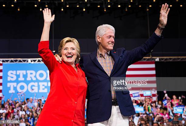 Democratic Presidential candidate Hillary Clinton with her husband former President Biil Clinton at a campaign rally July 30 2016 in Pittsburgh PA