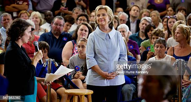Democratic presidential candidate Hillary Rodham Clinton campaigning at a town hall meeting in Portland Maine September 18 2015
