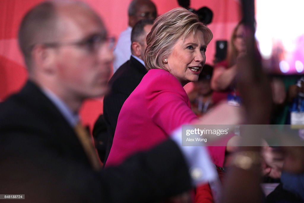 Democratic presidential candidate Hillary Rodham Clinton greets supporters after she addressed the 95th Representative Assembly of the National Education Association July 5, 2016 in Washington, DC. Clinton will be joined by President Barack Obama at a campaign stop in Charlotte, North Carolina later today.