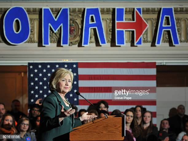Democratic Presidential Candidate Hillary Rodham Clinton speaks at a Town Hall rally at Sokol Auditorium December 16 2015 in Omaha Nebraska Clinton...