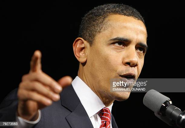 Democratic presidential candidate Ilinois Senator Barack Obama addresses supporters following victory in the South Carolina primary 26 January 2008...