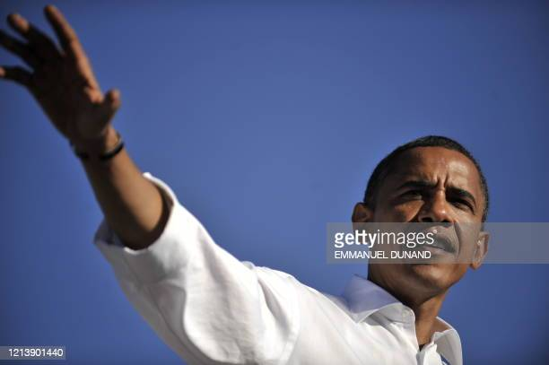 Democratic presidential candidate Illinois Senator Barack Obama speaks during a rally at Colorado State Fair Grounds in Pueblo, Colorado, September...