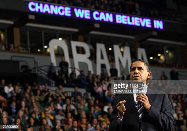 US Democratic presidential candidate Illinois Senator Barack Obama gestures during a rally in Minneapolis Minnesota 02 February 2008 Obama is on the...