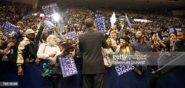 US Democratic presidential candidate Illinois Senator Barack Obama during a rally in Hartford Connecticut February 04 2008 Obama is on the campaign...